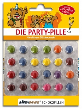 Die Party-Pille Schokolinsen Vorderseite
